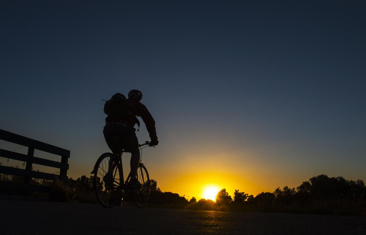 biking sunset