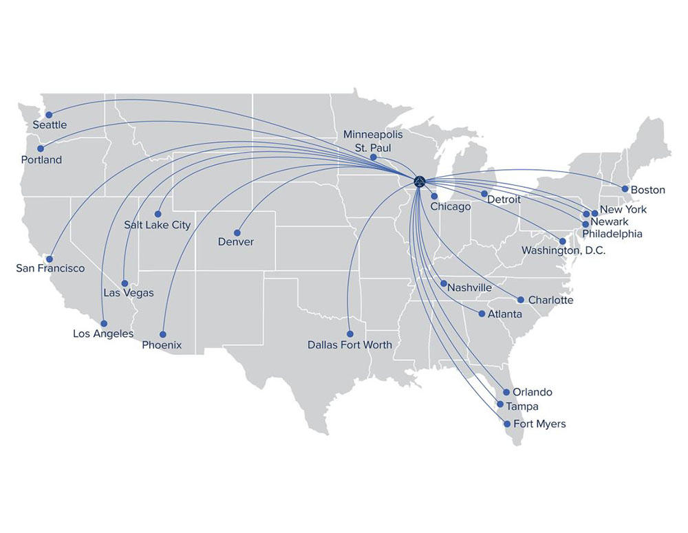 A map showing non-stop flights from Madison