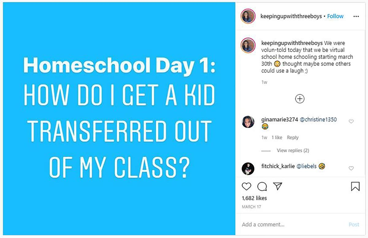 "Work from home joke says ""Homeschool Day 1: How do i get a kid transferred out of my class?"