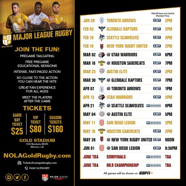 NOLA Gold Rugby 2019 Schedule