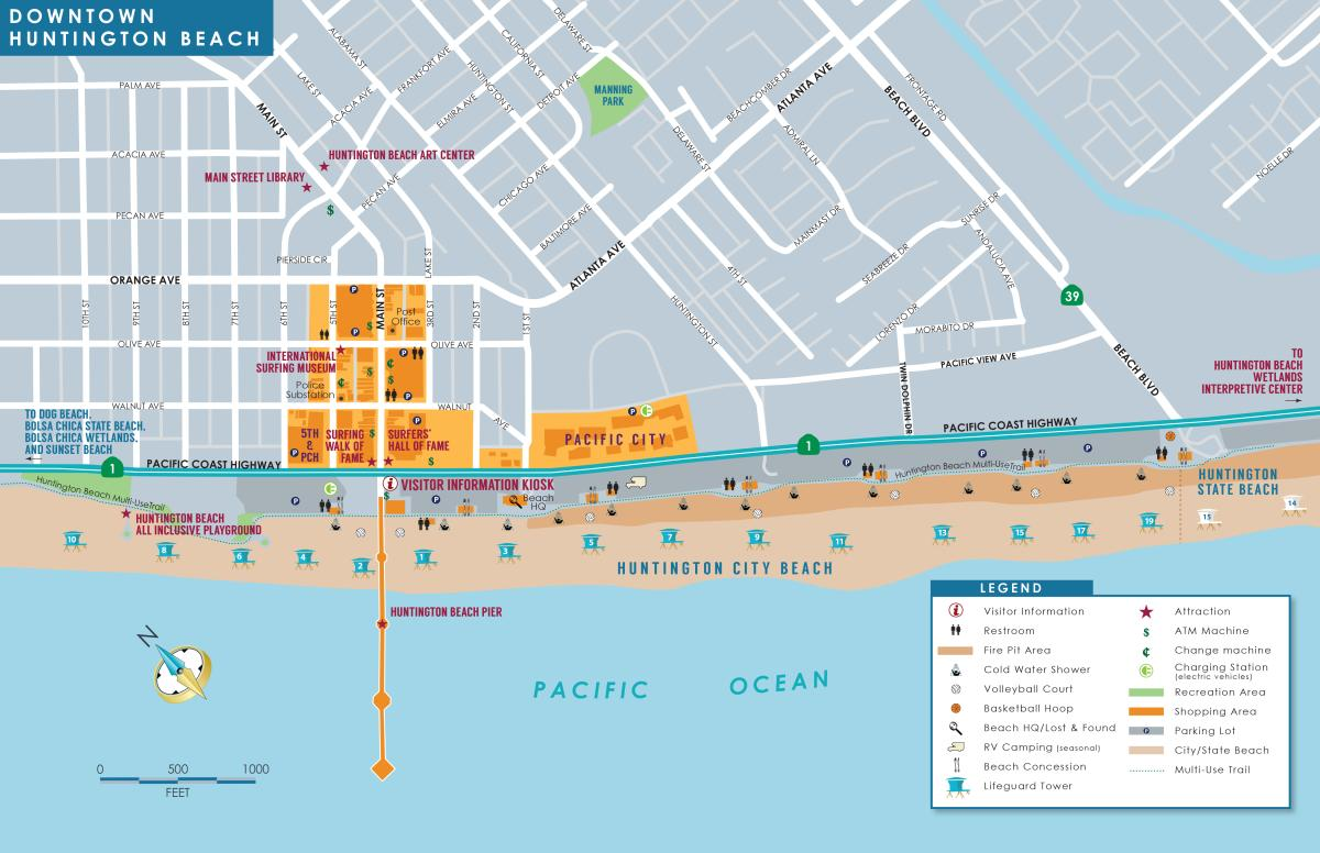 Huntington Beach Downtown Map