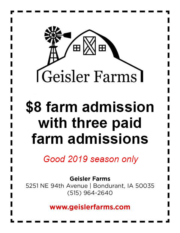 2019 Geisler Farms Coupon