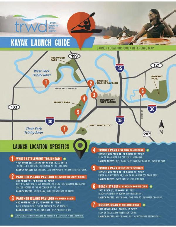 A helpful map courtesy of Tarrant Regional Water District that shows launch spots along the Trinity River.