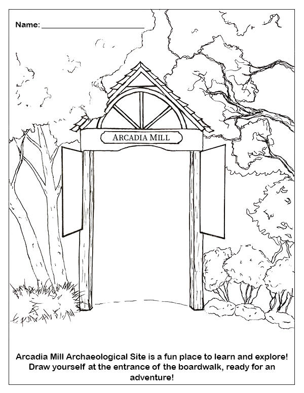 Arcadia Mill Boardwalk Entrance Coloring Sheet
