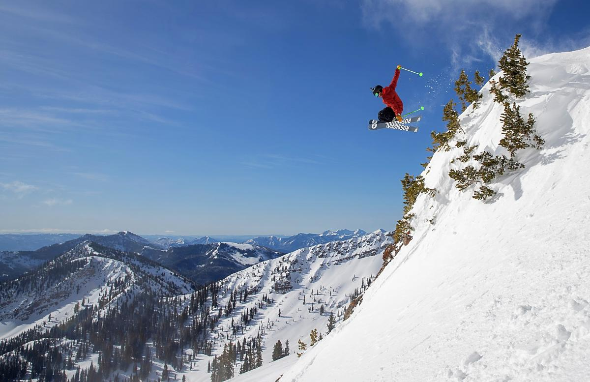 Skier Catching Air at Mineral Basin at Snowbird