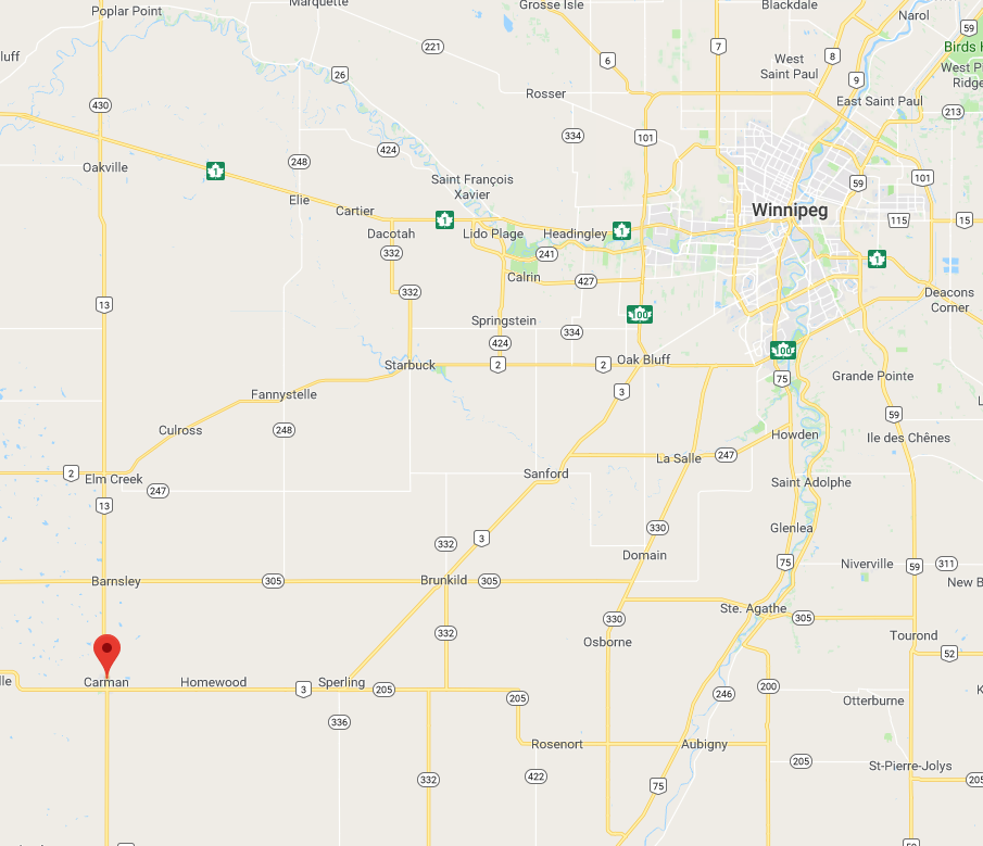 Map of Manitoba locating Carman