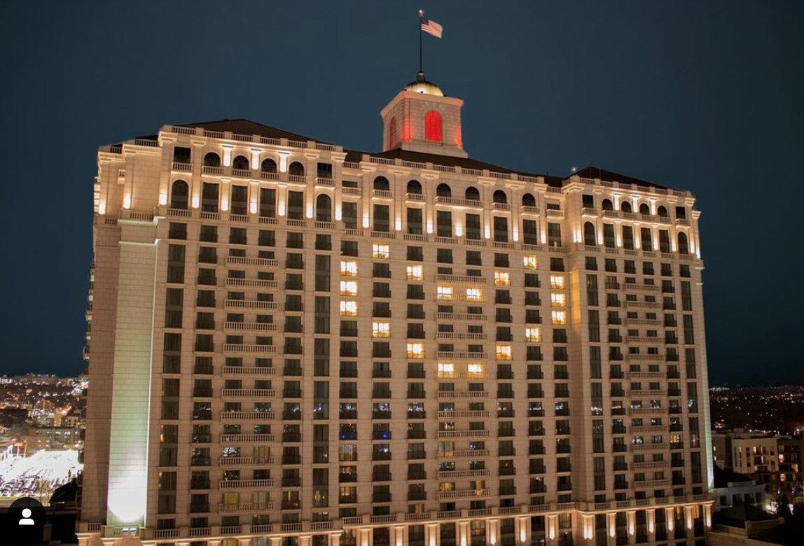 Grand America Hotel with heart made from window lights