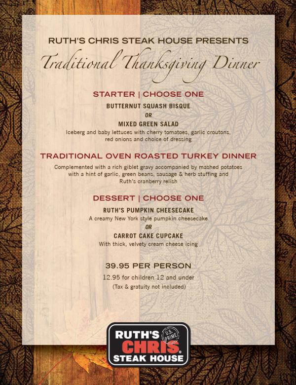 Ruth's Chris Steak House Thanksgiving Menu 2018