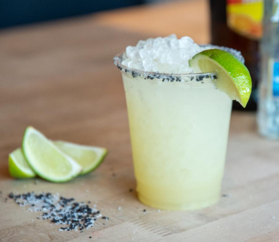 To go Doble Fina Margarita with lime and salt from Hopdoddy Burger Bar in Austin Texas