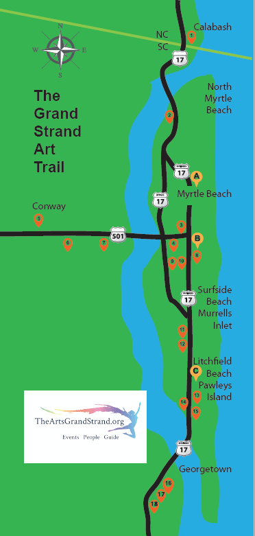 The Grand Strand Art Trail Map