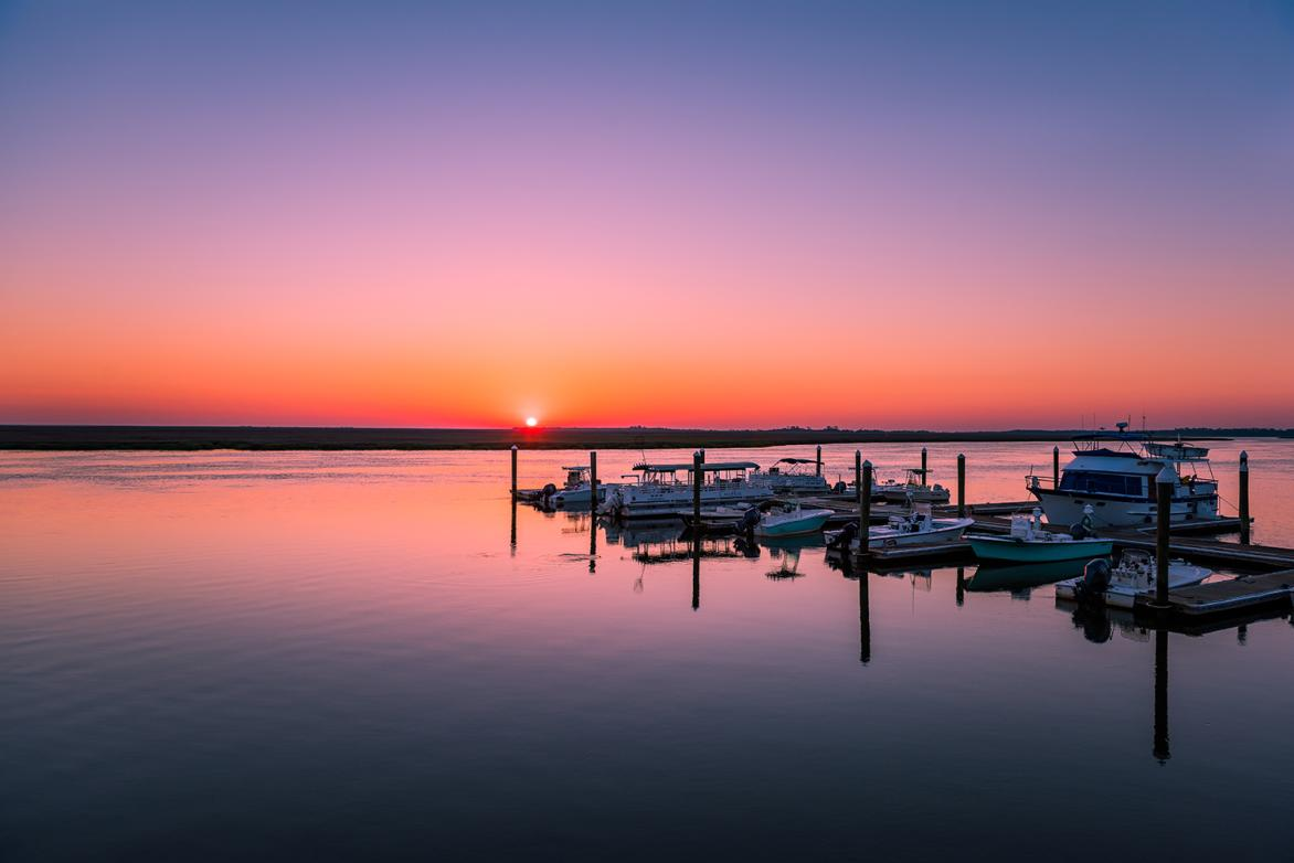 Boating docks at sunset