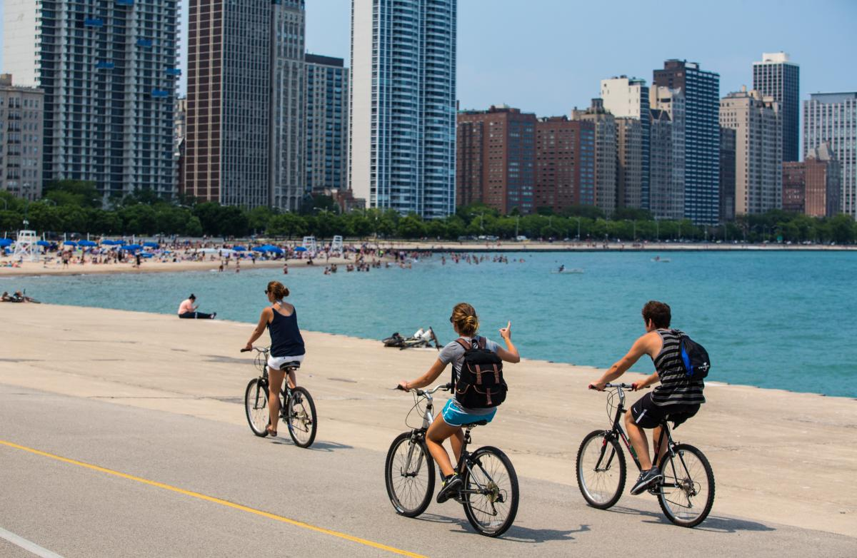 Bicyclists on the Lakefront Trail Chicago