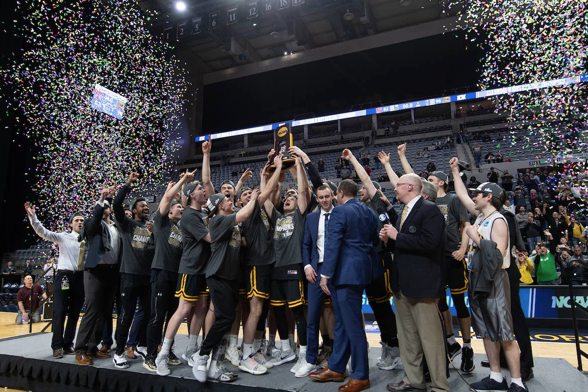 NCAA Trophy presentation to the D3 Men's Basketball National Champions in 2019