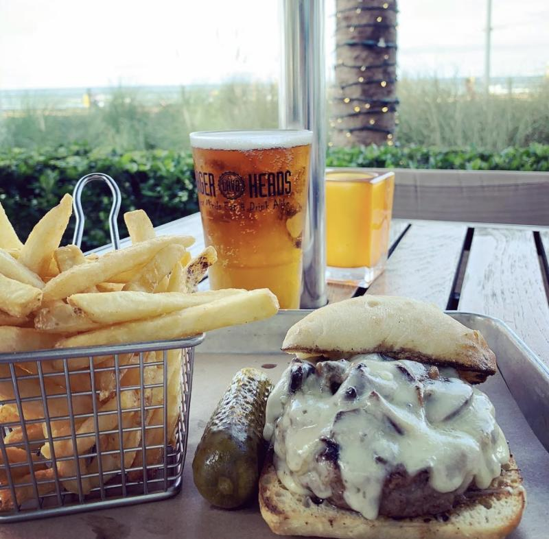 Sandwich, Fries and a Pint of Beer at Lager Head's Restaurant