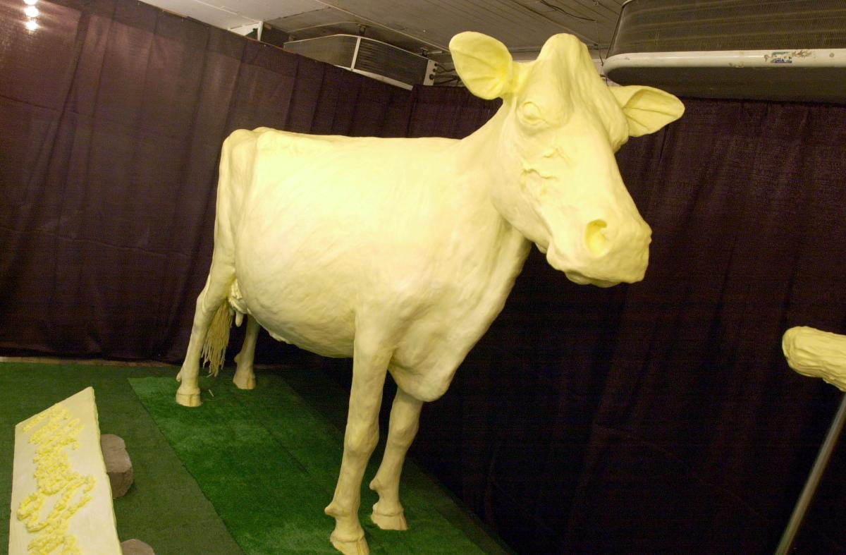 Butter sculptures done by Duffy Lyon are an Iowa State Fair must see.  The classic butter cow was joined this year by a butter likeness of John Wayne.  2001 Iowa State Fair Photo.