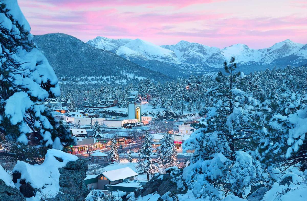 Pink Snowy Village