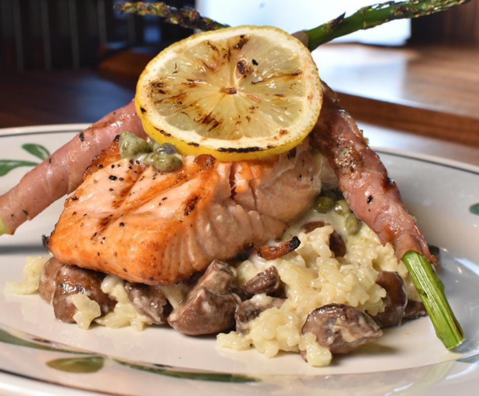Salmon over risotto