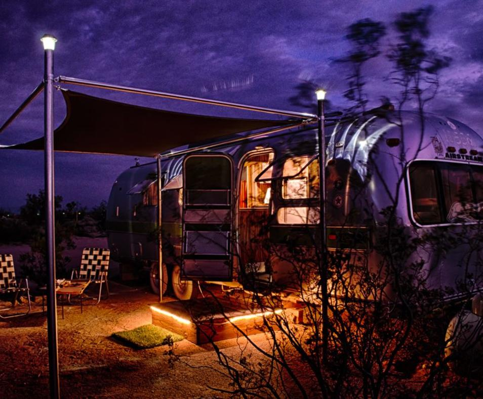 Airstream at night