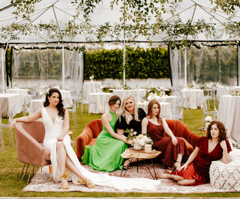 Bride & her Bridesmaids by Alexandria Monette Photography
