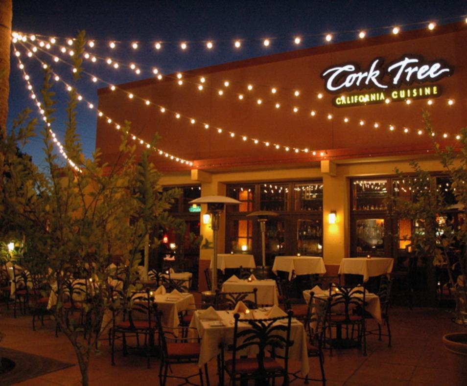 Cork Tree Patio lights up the night