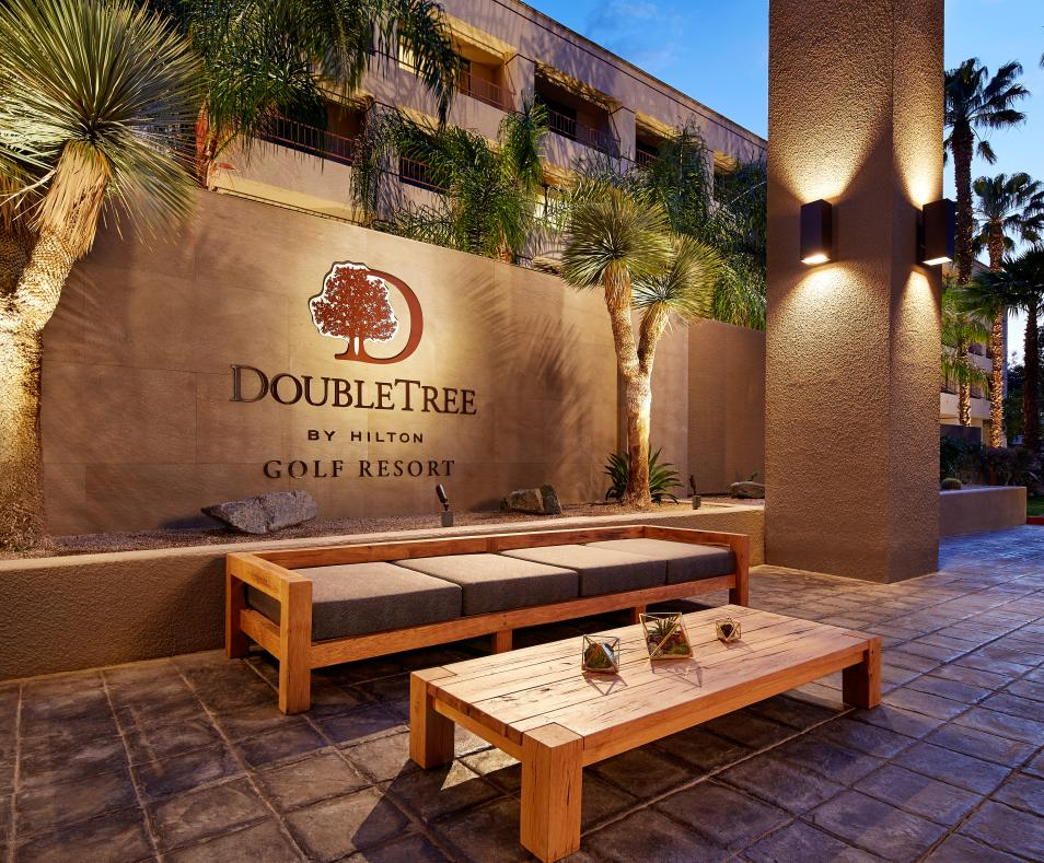 entry table and bench with Doubletree logo