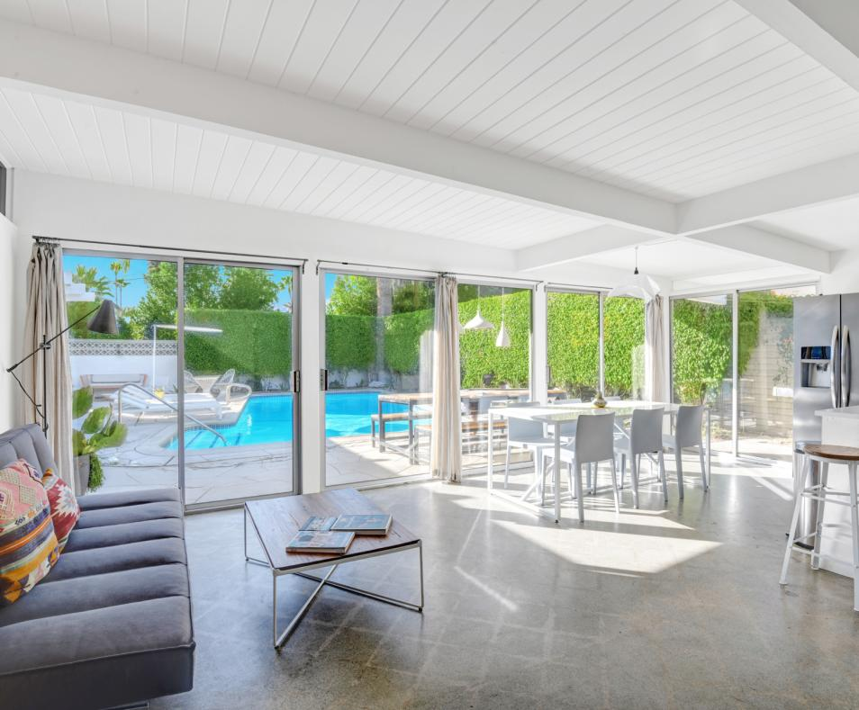 Unit 5 two bedroom suite south facing windows overlooking pool