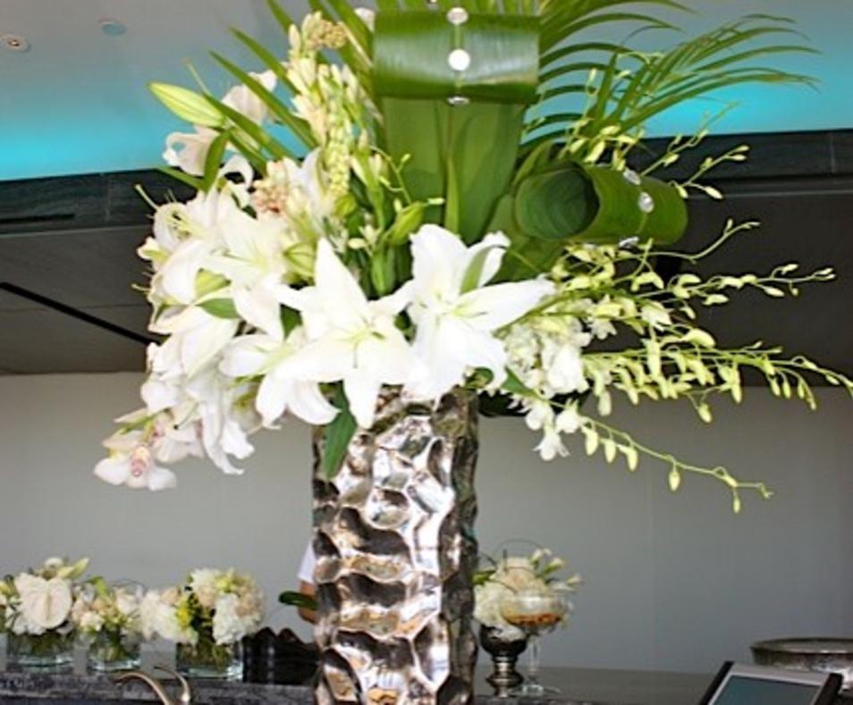 white in silver vase
