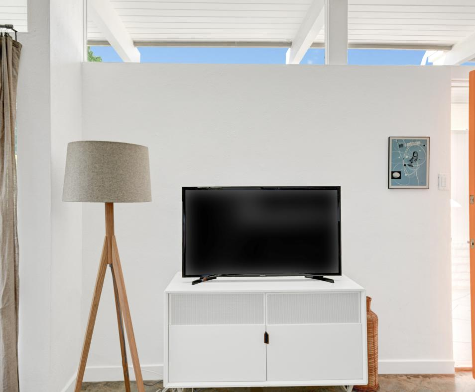 Living room Smart TV with HULU and 1GB internet