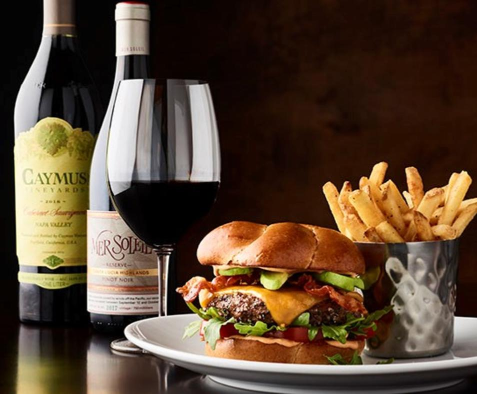 caymus and a burger