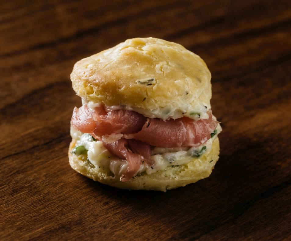 Mini Herb Biscuit & Prosciutto / Tray Pass Appetizer