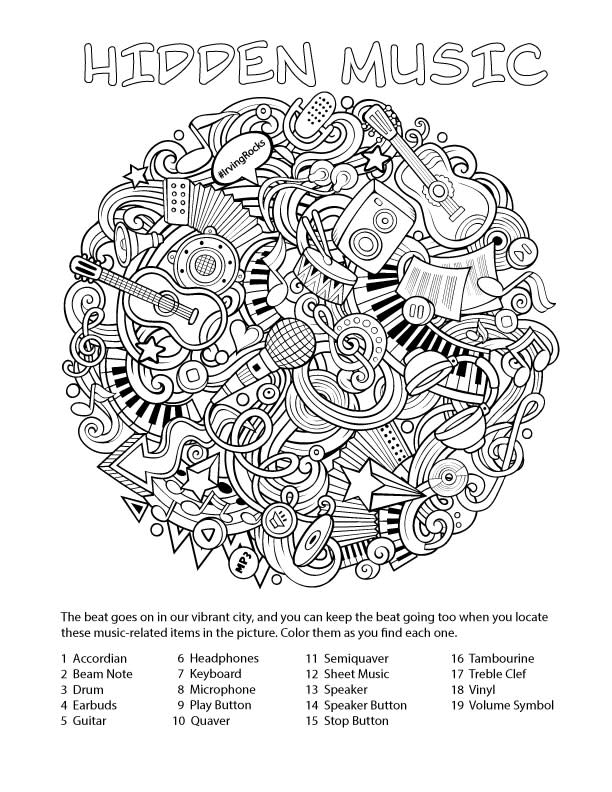 An illustration for the Music Activity Page that can be printed out and colored in.