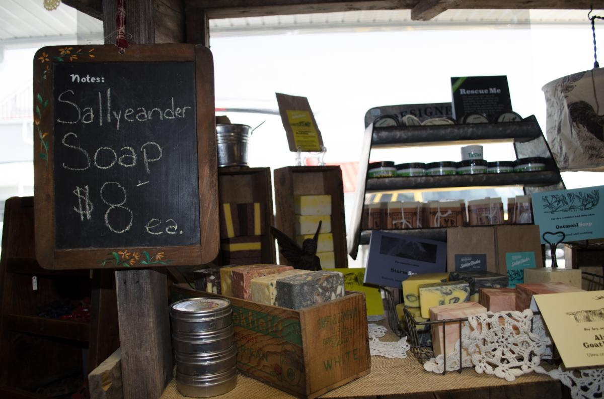 Homemade items appear among the vintage goods at Barn Fresh