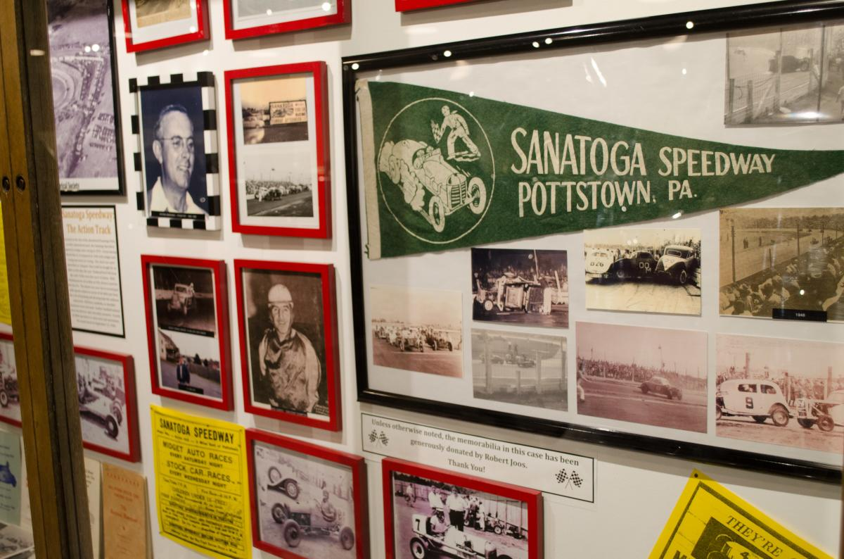 A tribute to the Sanatoga Speedway is one of many refurbished displays at the museum.
