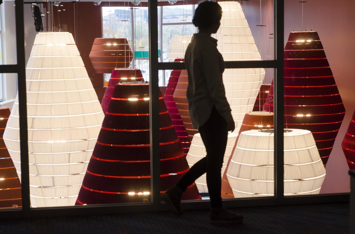 Illuminated lanterns light up the lobby of Pablo Center at the Confluence