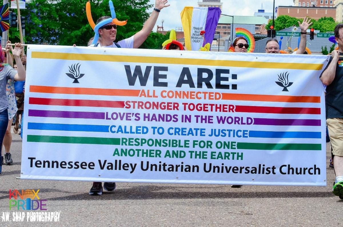 Pride Banner for the TVUUC courtesy of Taryn Ferro
