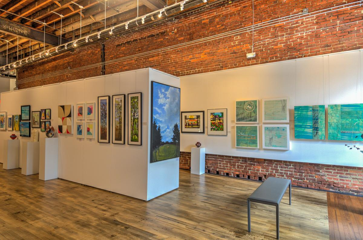 District Arts Gallery with paintings in Downtown Frederick