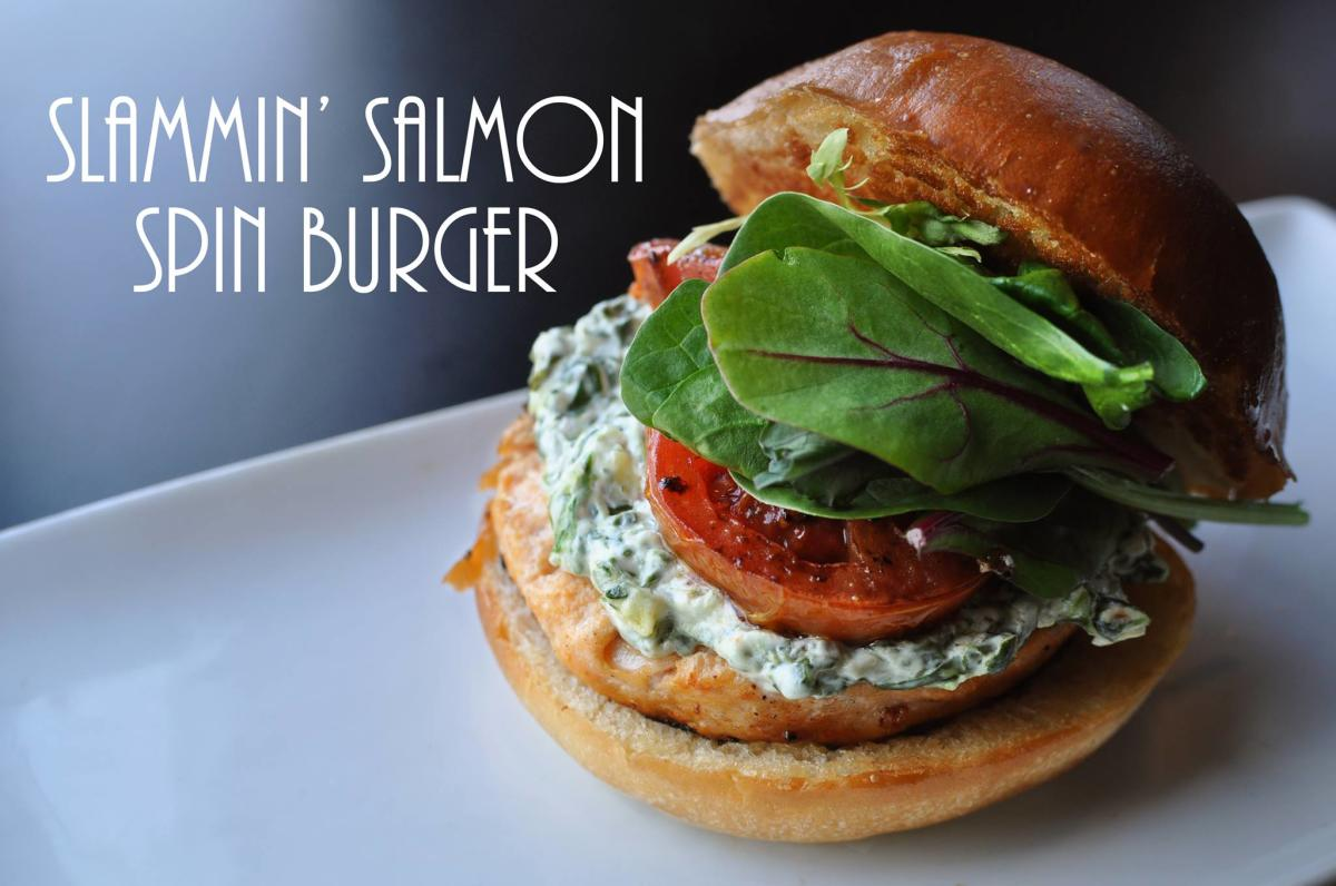 Slammin Salmon Spin Burger from The Burger Stand College Hill Topeka Kansas
