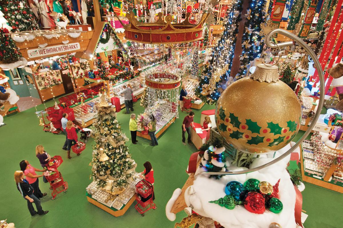 Overhead view of Bronner's CHRISTmas Wonderland with a giant ornament and light displays