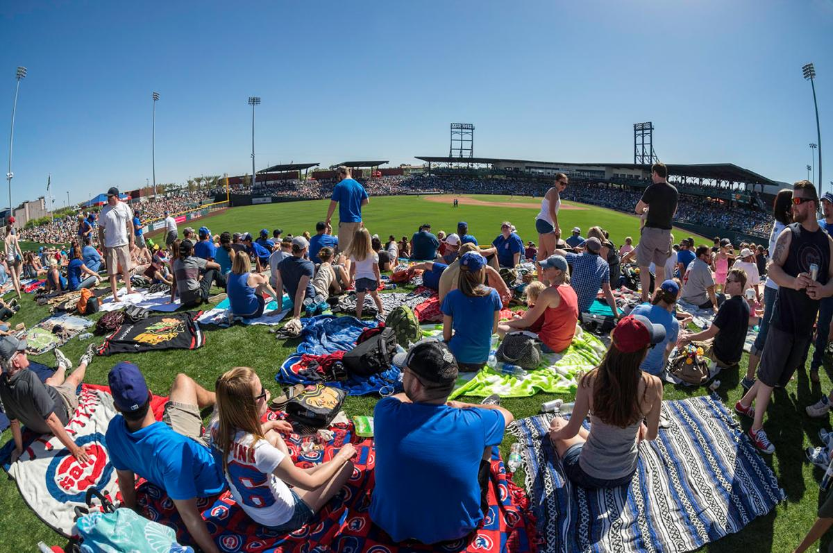 Cubs fans enjoy spring training at Sloan Park, Mesa, Arizona