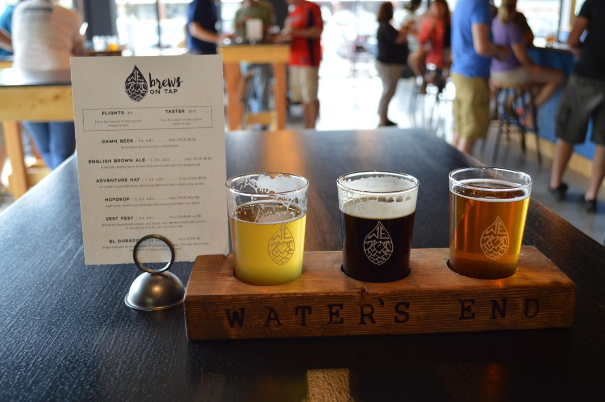 beer flight at Water's End Brewery