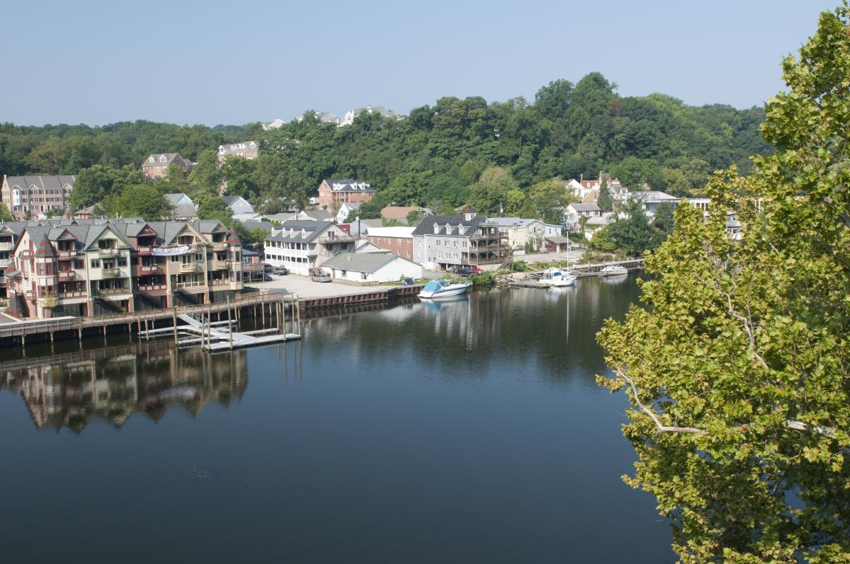 Occoquan waterfront aerial view from across the water