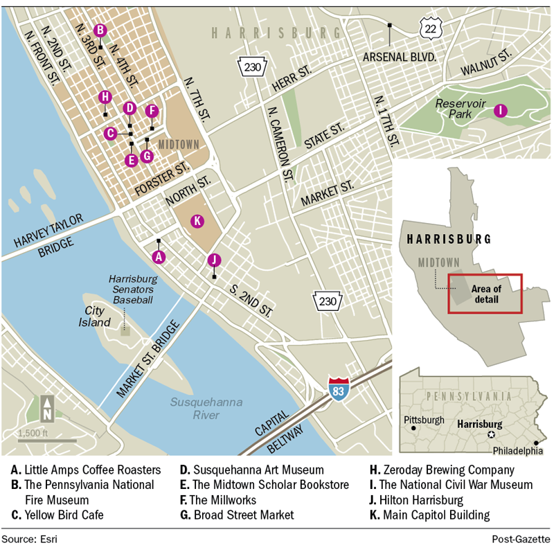 Map of HHR visited by Mackenzie Carpenter for Pittsburgh Post-Gazette article that appeared in Nov. 2015