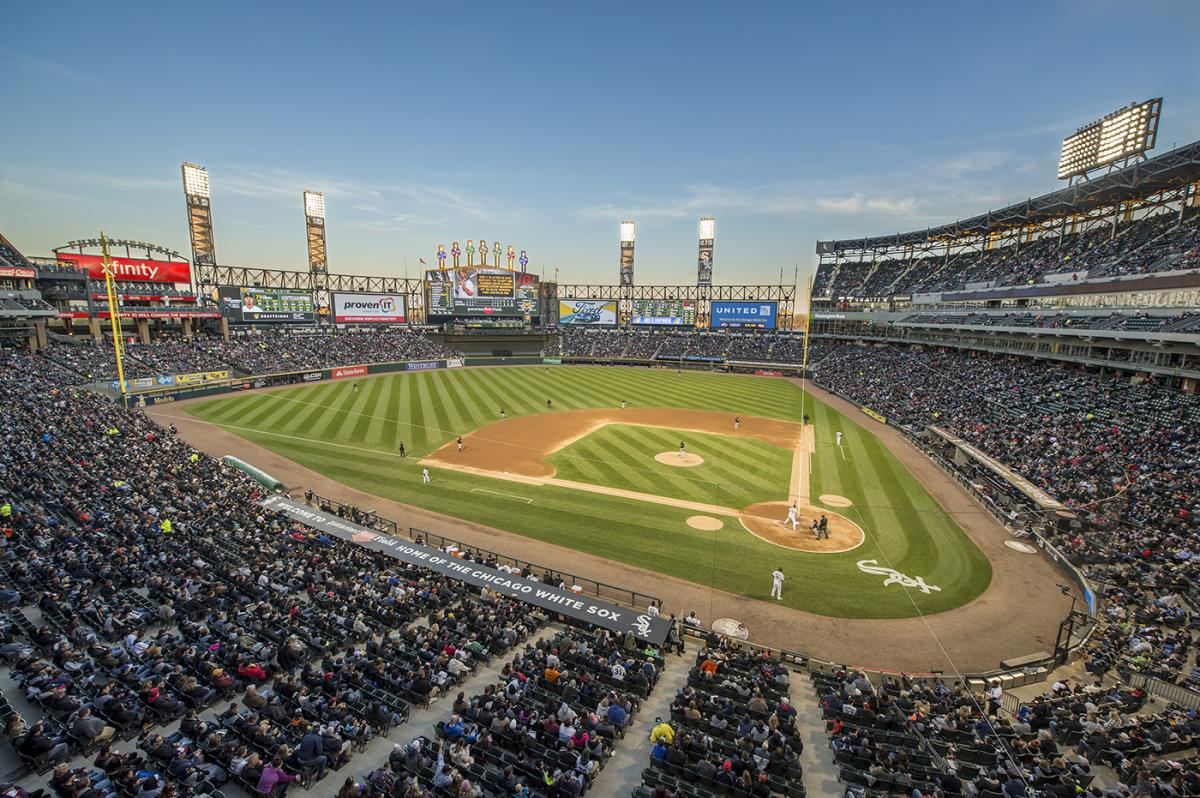 Panoramic View of Guaranteed Rate Field, a baseball diamond.