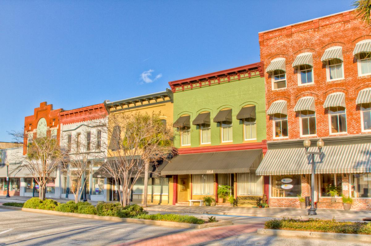 Historic buildings on Newcastle Street in Historic Downtown Brunswick, GA