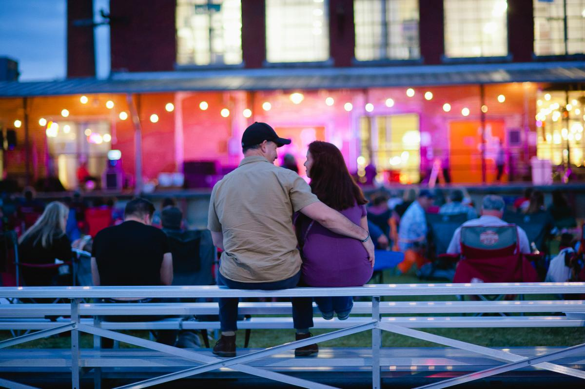 Couple at Concerts at the Dock Lowe Mill