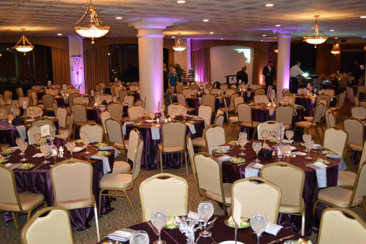Elegant banquet tables setup at Harbour View