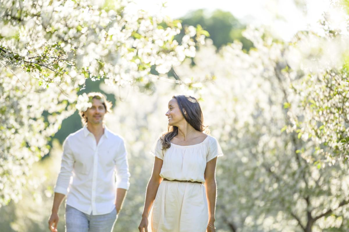 Couple in Cherry Orchard