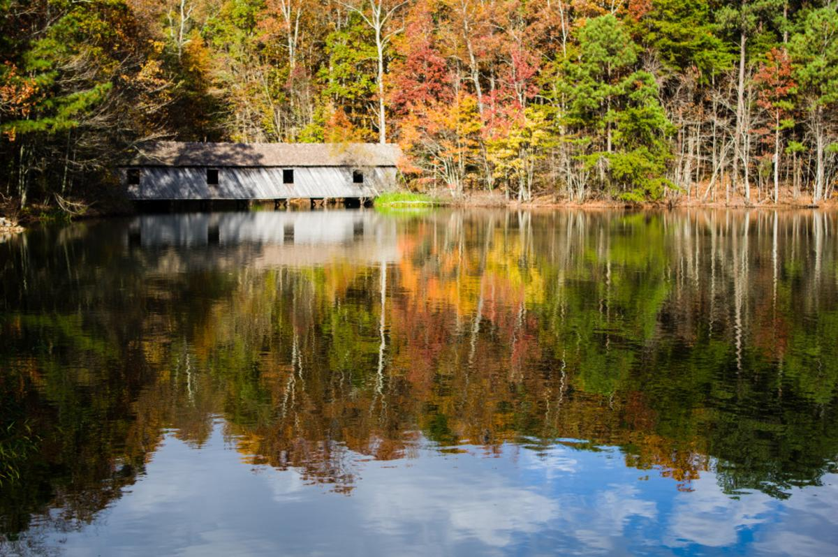 covered bridge, fall leaves, Green Mountain, Madison County Nature Trail, pond