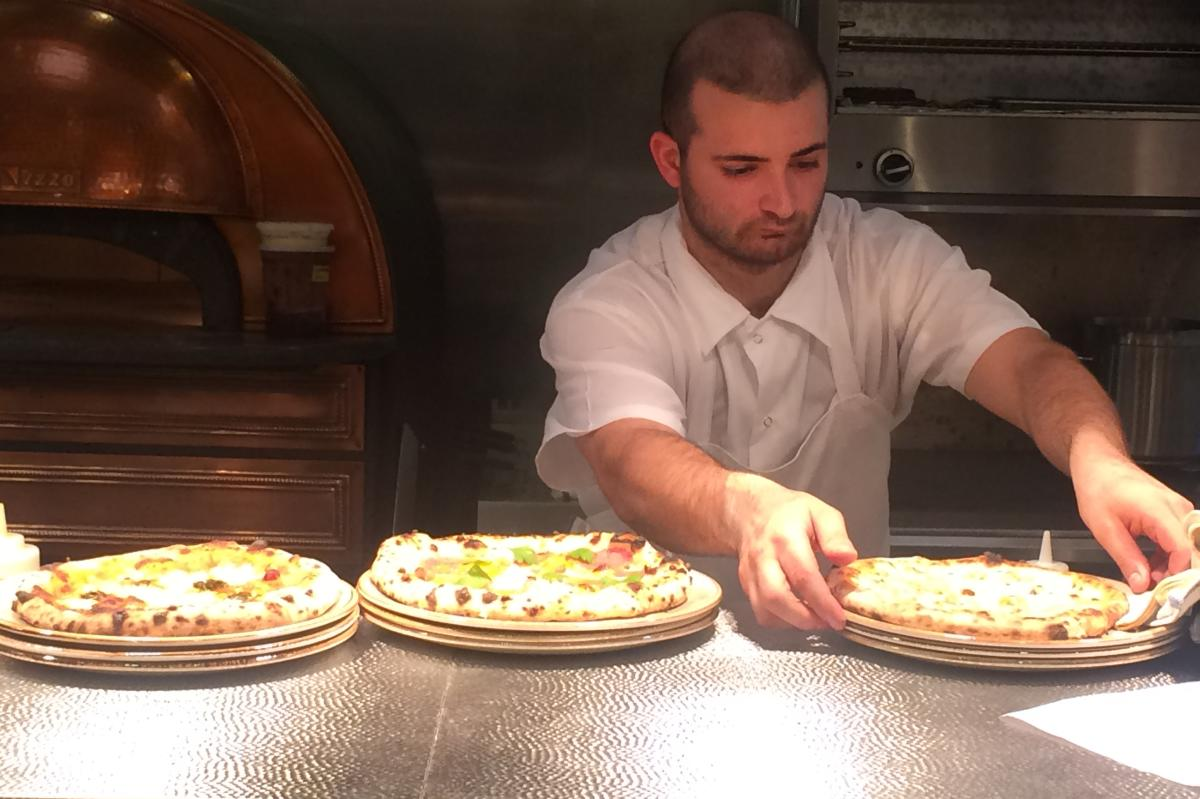 Pizza ready to be served at Marcus B&P in Newark, NJ