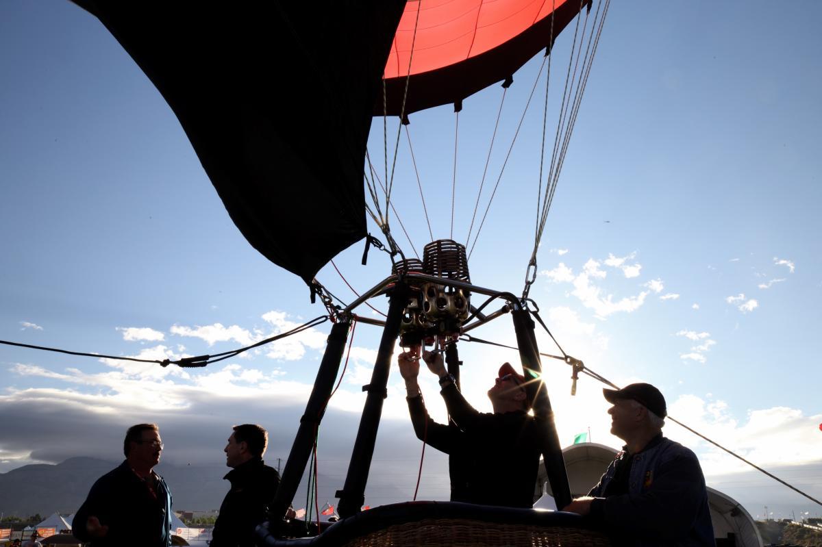 Balloon pilot preparing to take off